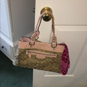 Pink & Tan Coach Purse, Wallet & Scarf